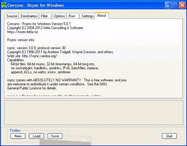 Full cwRsync screenshot